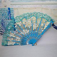Веер текстильный с розочками, голубой, фото 1