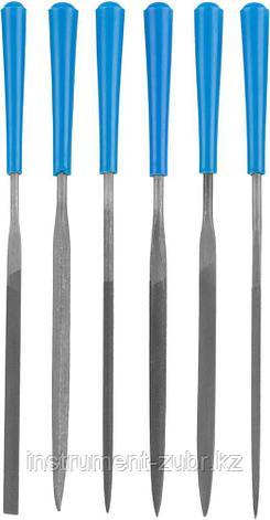 """Набор ЗУБР """"ЭКСПЕРТ"""": Надфили, пластмассовая ручка, насечка 2 = Бархатная, с чехлом, 100мм, 6шт, фото 2"""