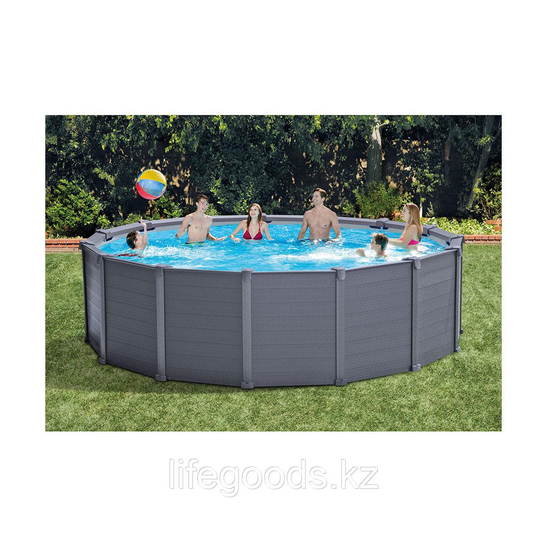 Каркасный бассейн Graphite Gray Panel 478х124 см Intex 26384NP