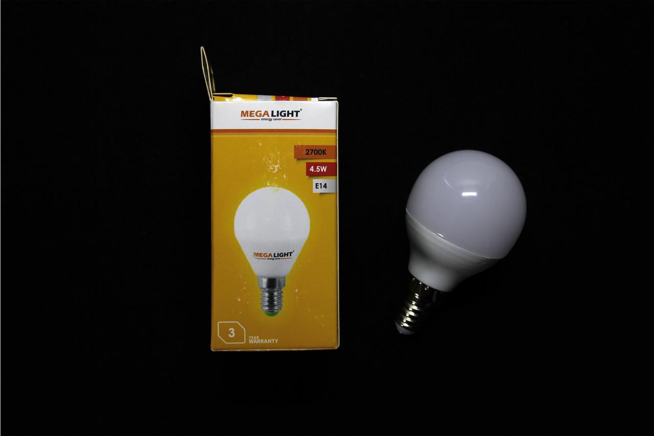 Лампа LED P45 4,5w 2700K E14 (MegaLight)