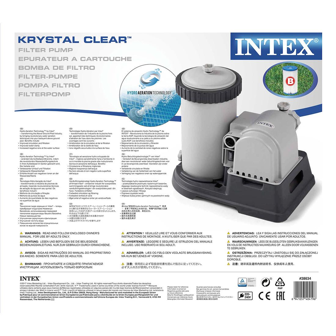 Насос фильтрующий Intex 28634, 9463 л/ч, Цвет: Серый