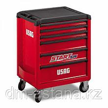 Тележка инструментальная, 6 ящиков, отделка пластмассой, красная, USAG (Италия)