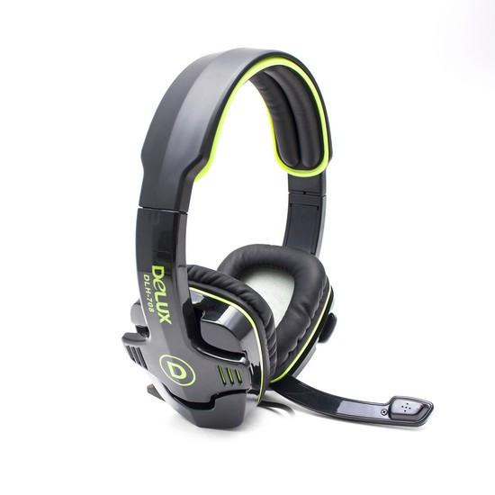 Наушники, Delux, DLH-708, Микрофон, Чёрно-Зелёные