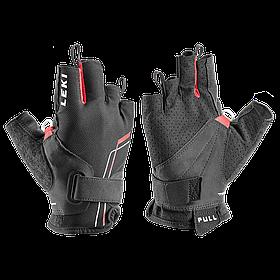 Перчатки со встроенным темляком LEKI Nordic Breeze Shark Short black-red-white (Германия)