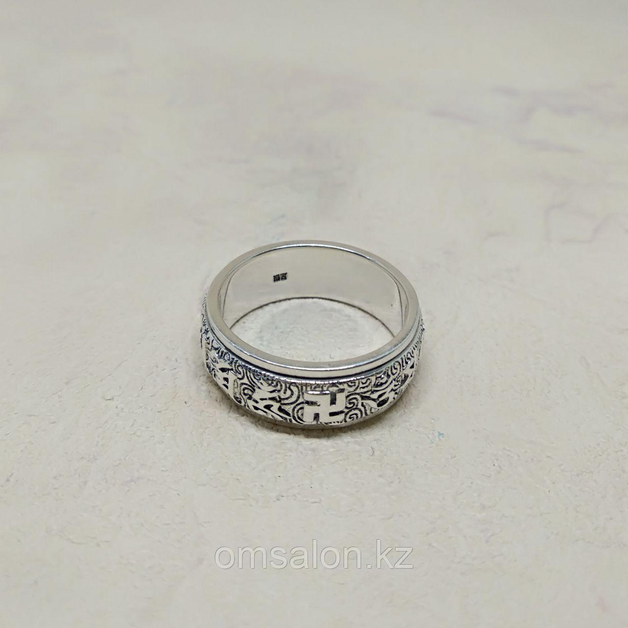 Кольцо Ом Мани Падме Хум со свастикой, двойное, серебро 925