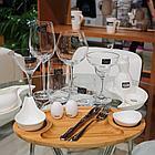 Тарелка бамбуковая Wilmax сервировочная овальная 3 секции 40,5х23см, фото 2