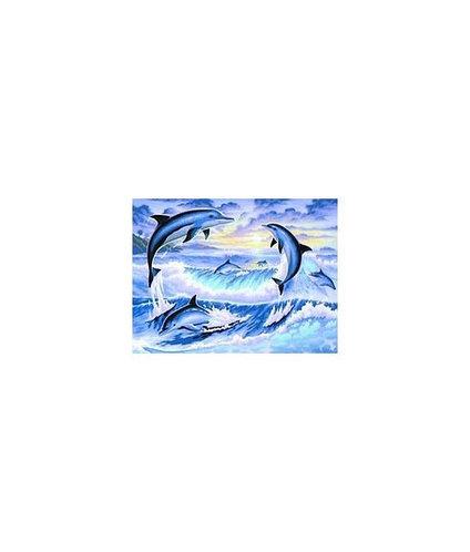 Картины по номерам 40*50 см (Дельфины)