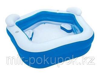 Семейный надувной бассейн Bestway Геометрия с сиденьями и подголовниками (54153)