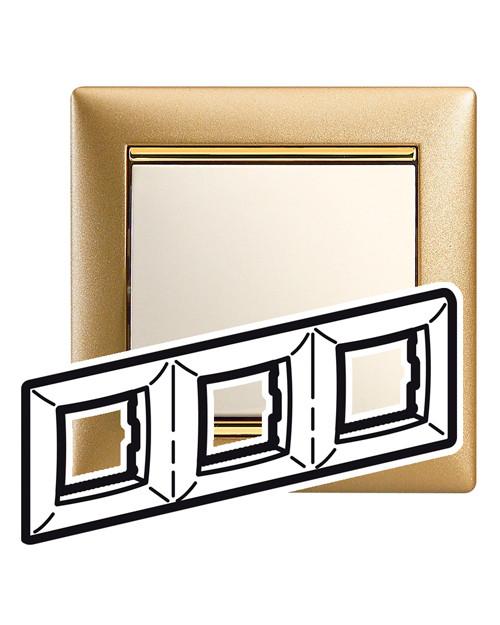 Рамка Legrand 770303 3п гориз мат золото VLN legrand-770303