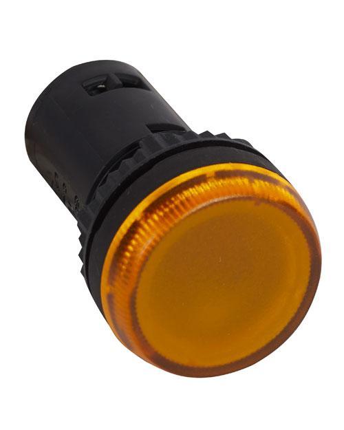 Лампа индикаторная моноблочная 230В желтая (024614)