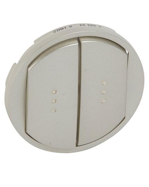 Celiane Центральная плата для выключателя двухклавишного с подсветкой титан (68304)