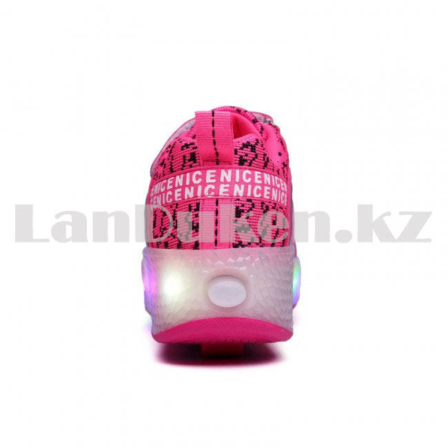 Светящиеся 1 колесные кроссовки ролики розовые LED - фото 2