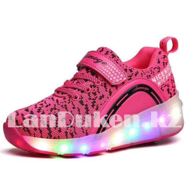 Светящиеся 1 колесные кроссовки ролики розовые LED - фото 4