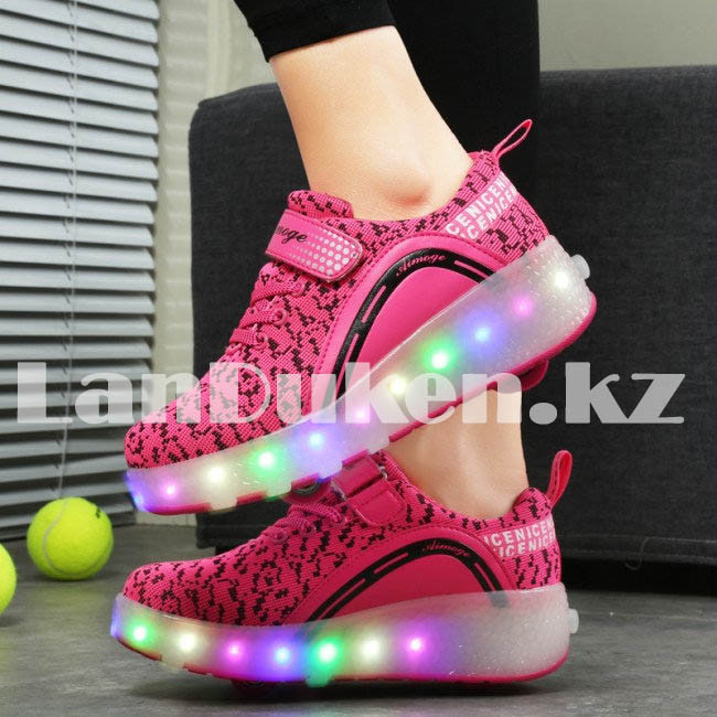Светящиеся 1 колесные кроссовки ролики розовые LED - фото 5