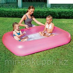 Детский надувной прямоугольный бассейн розовый, голубой Bestway 51115