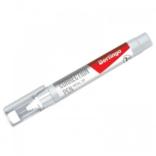 Корректирующая ручка Berlingo, 7 мл, металлический наконечник