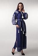 Длинное вышитое платье Ясные зори,синий лен, белая вышивка