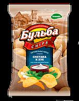 Чипсы из натурального картофеля Бульба Chips сметана + лук