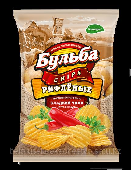 Чипсы из натурального картофеля Бульба Chips сладкий чили (рифленые)