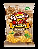Чипсы из натурального картофеля Бульба Chips боровик (рифленые)