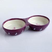 Миска керамическая двойная 'Киса', 250/250 мл, 23,7 х 11,6 х 4,2 см, сиреневая