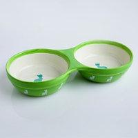 Миска керамическая двойная 'Киса', 250/250 мл, 23,7 х 11,6 х 4,2 см, зеленая