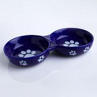 Миска керамическая двойная 'Лапки', 150/150 мл, 22,7 х 11,3 х 3,5 см, синяя