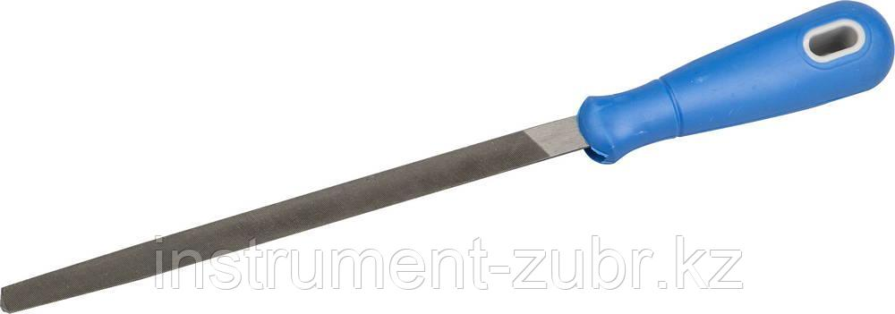 """Напильник ЗУБР """"ПРОФЕССИОНАЛ"""" трехгранный, двухкомпонентная рукоятка, № 3, 200мм"""