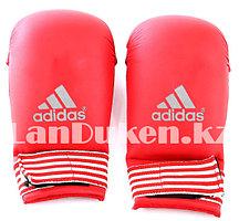 Перчатки для карате красные с белыми полосами на застежке