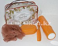 Банный- дорожный набор 5 предметов (футляр для зубной щетки, вехотка, мыльница, расческа, косметичка) Коричневый