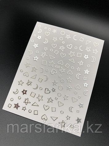 """Наклейки Monami """"сердечки+звезды+месяц"""" серебро №438, фото 2"""