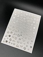 """Наклейки Monami """"сердечки+звезды+месяц"""" серебро №438"""