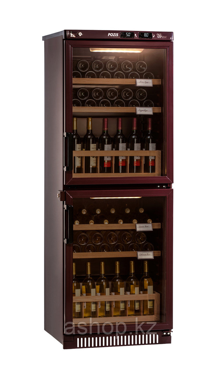 Шкаф винный Pozis ШВ-78, Тип открывания: Дверца стеклянная тонированная для защиты от УФ-лучей, Объем: До 78 б