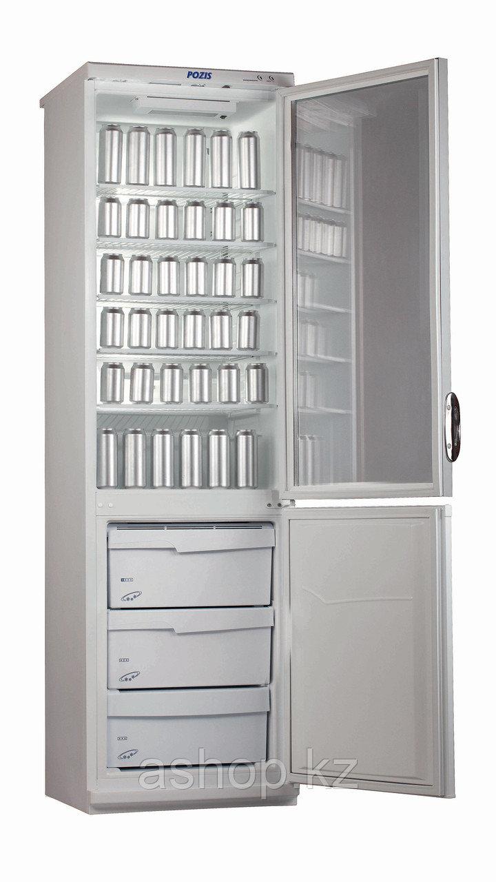 Шкаф-витрина Pozis RD-164, Тип открывания: Дверца металлическая в морозильной камере, стеклянная в холодильной