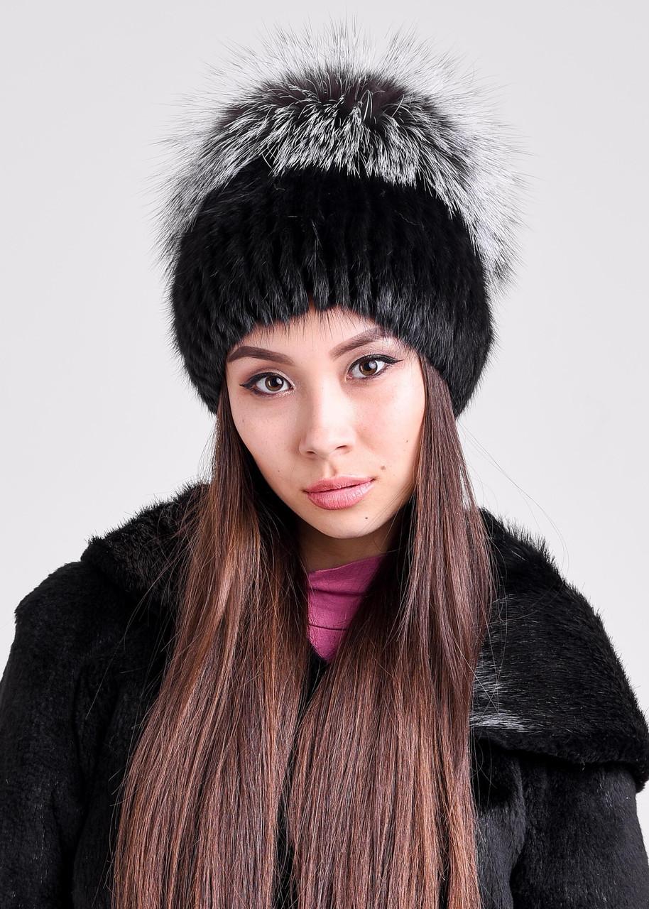 Женская меховая шапка из ондатры и чернобурки, купить онлайн в bgfurs.kz - фото 2
