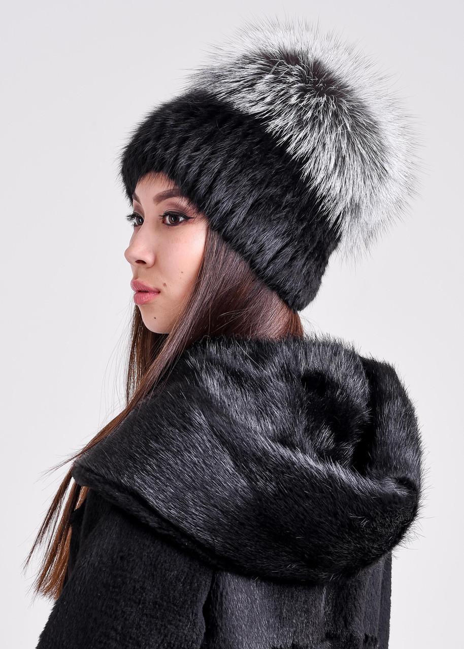 Женская меховая шапка из ондатры и чернобурки, купить онлайн в bgfurs.kz - фото 1