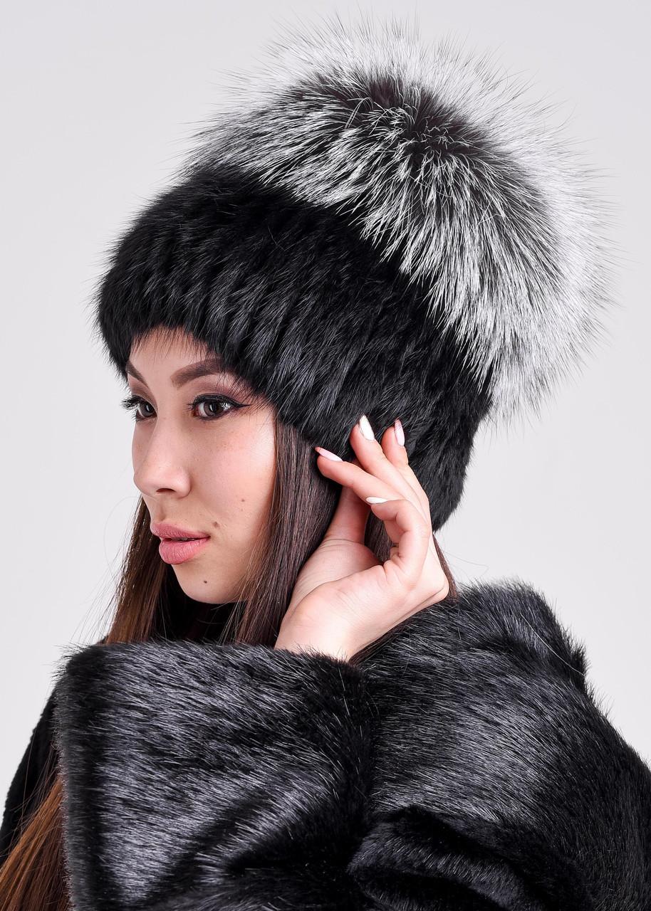 Женская меховая шапка из ондатры и чернобурки, купить онлайн в bgfurs.kz - фото 3