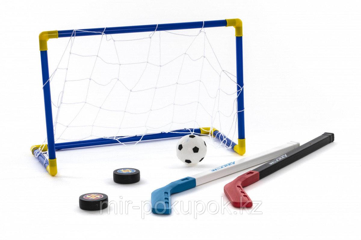 Набор детский для игры в хоккей «ХОККЕЙНОЕ НАСТРОЕНИЕ» (ворота с сеткой + клюшки + шайба + мяч + насос)