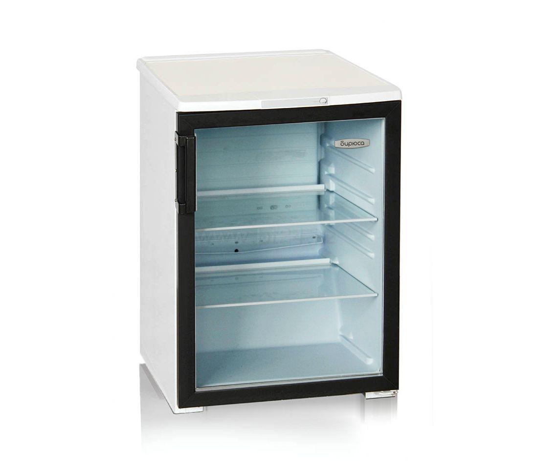 Шкаф-витрина Бирюса 152B, Тип открывания: Дверца стеклянная, Объем: 152 л, Цвет: Бело-чёрный