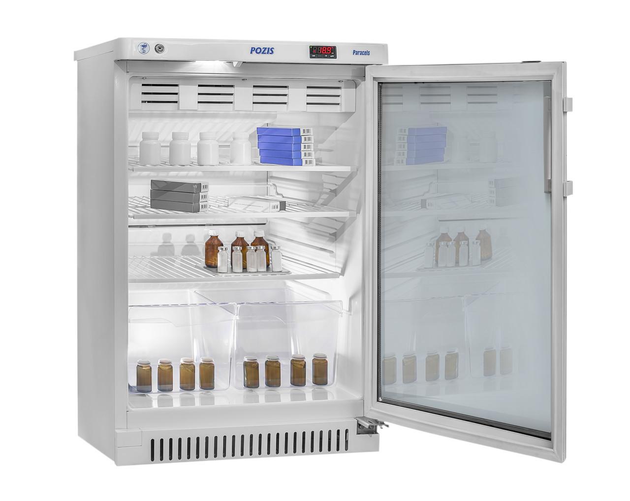 Холодильник фармацевтический Pozis ХФ-140-1, Тип открывания: Дверца стеклянная с замком, Объем: 140 л, Корзин: