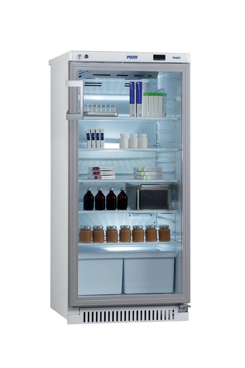 Холодильник фармацевтический Pozis ХФ-250-3, Тип открывания: Дверца стеклянная с замком, Объем: 250 л, Корзин: