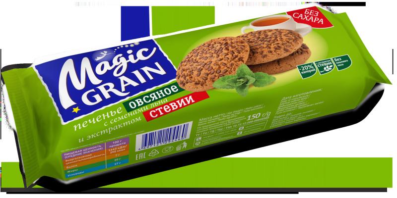Печенье Magic Grain Овсяное с семенами льна и экстрактом стевии