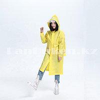 Универсальный плащ-дождевик с кнопками с козырьком из непромокаемой ткани Raincoat желтый