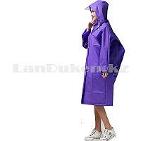 Универсальный плащ-дождевик с кнопками с козырьком из непромокаемой ткани Raincoat фиолетовый