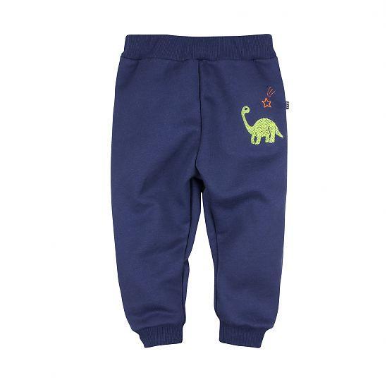 Теплые брюки детские в вышивкой Дино синий