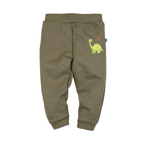Теплые брюки детские в вышивкой Дино хаки