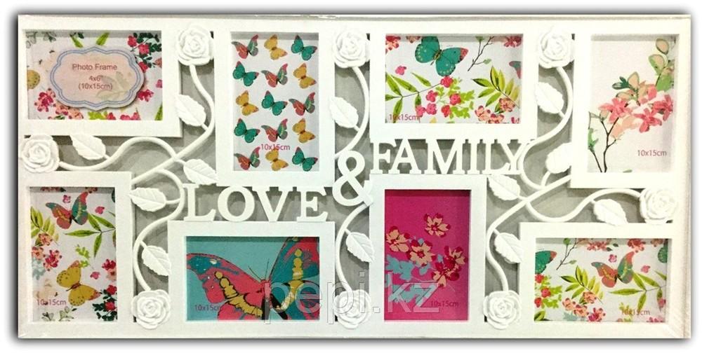 """Фоторамка  """"Love & Famaly"""", белая"""