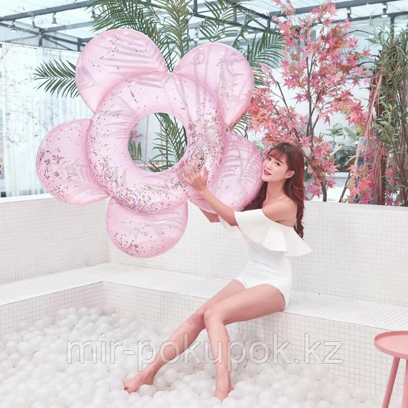 Надувной круг для плавания с блестками Розовый Цветок, 140 см