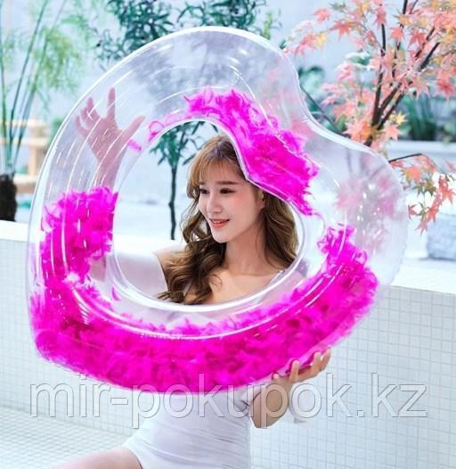 Надувной круг для плавания прозрачный Сердечко с перьями внутри, 90 см