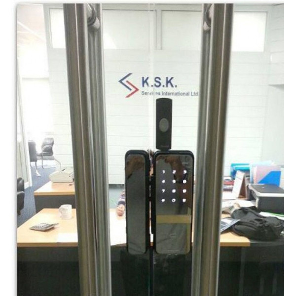 Накладной электронный кодовый замок для стеклянных дверей Irevo Gateman Shine